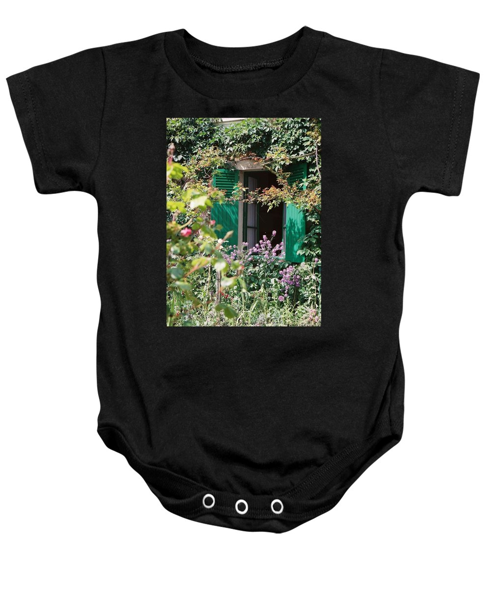 Charming Baby Onesie featuring the photograph Window To Monet by Nadine Rippelmeyer