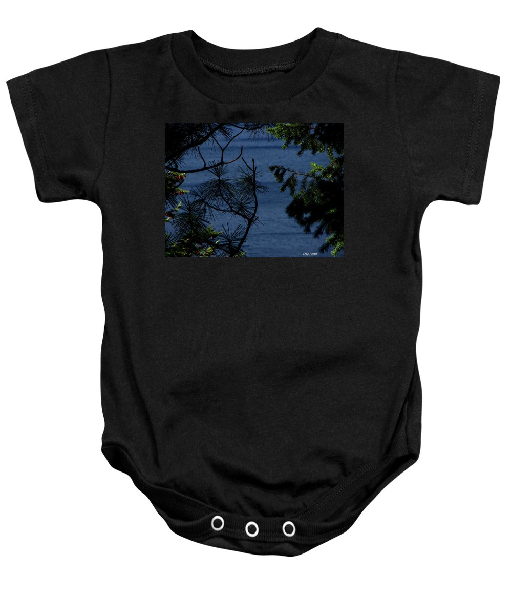 Patzer Baby Onesie featuring the photograph Window To The River by Greg Patzer
