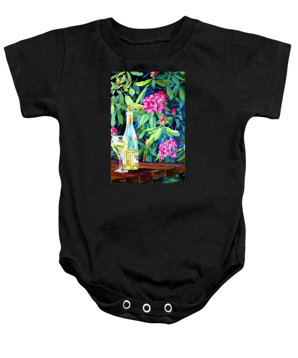 Rhododendron Baby Onesie featuring the painting Wine And Rhodies by Karen Stark
