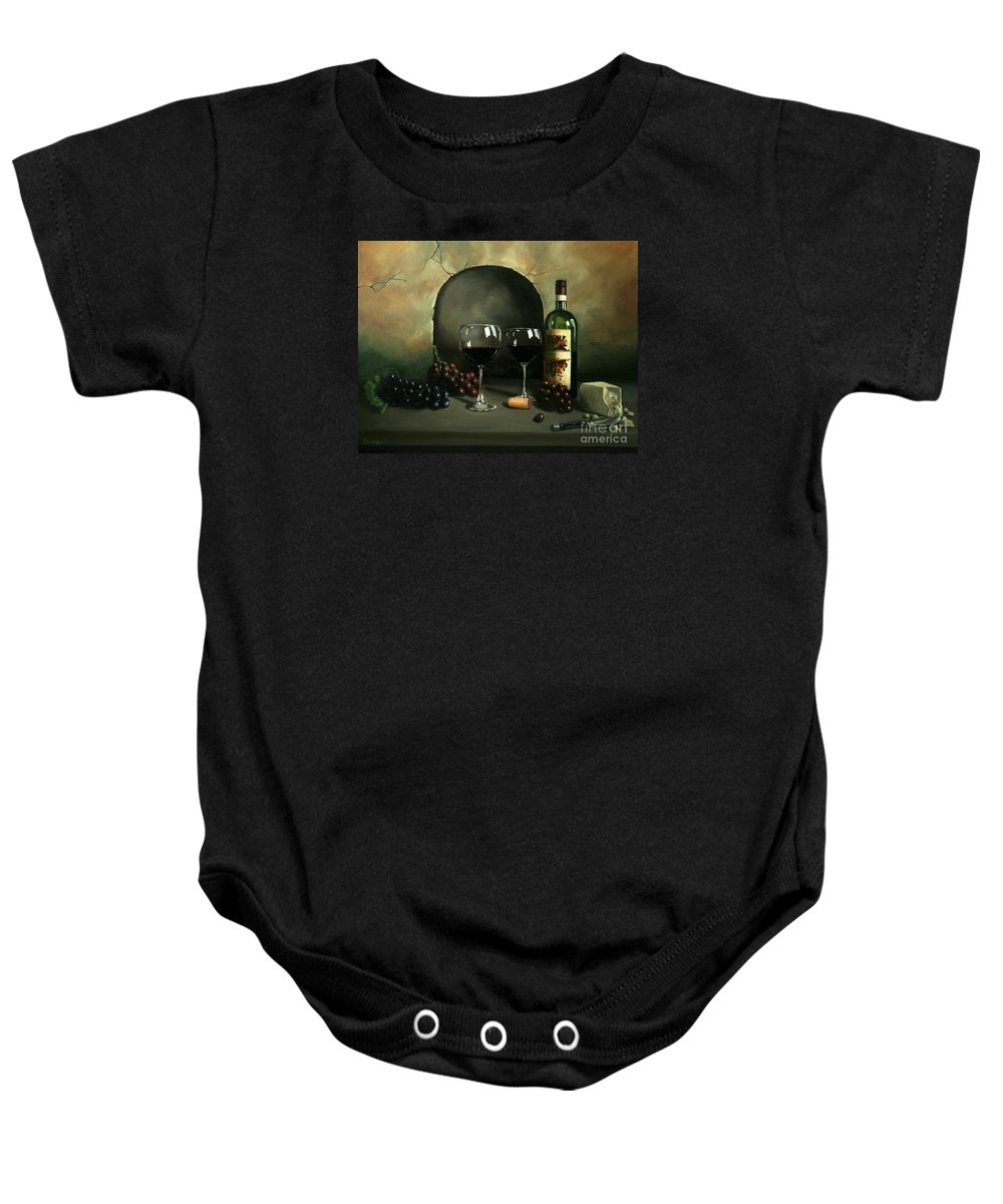 Wine Baby Onesie featuring the painting Wine For Two by Paul Walsh