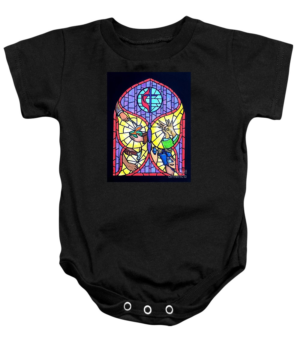Butterflly Baby Onesie featuring the painting Wings Of Change by Jim Harris