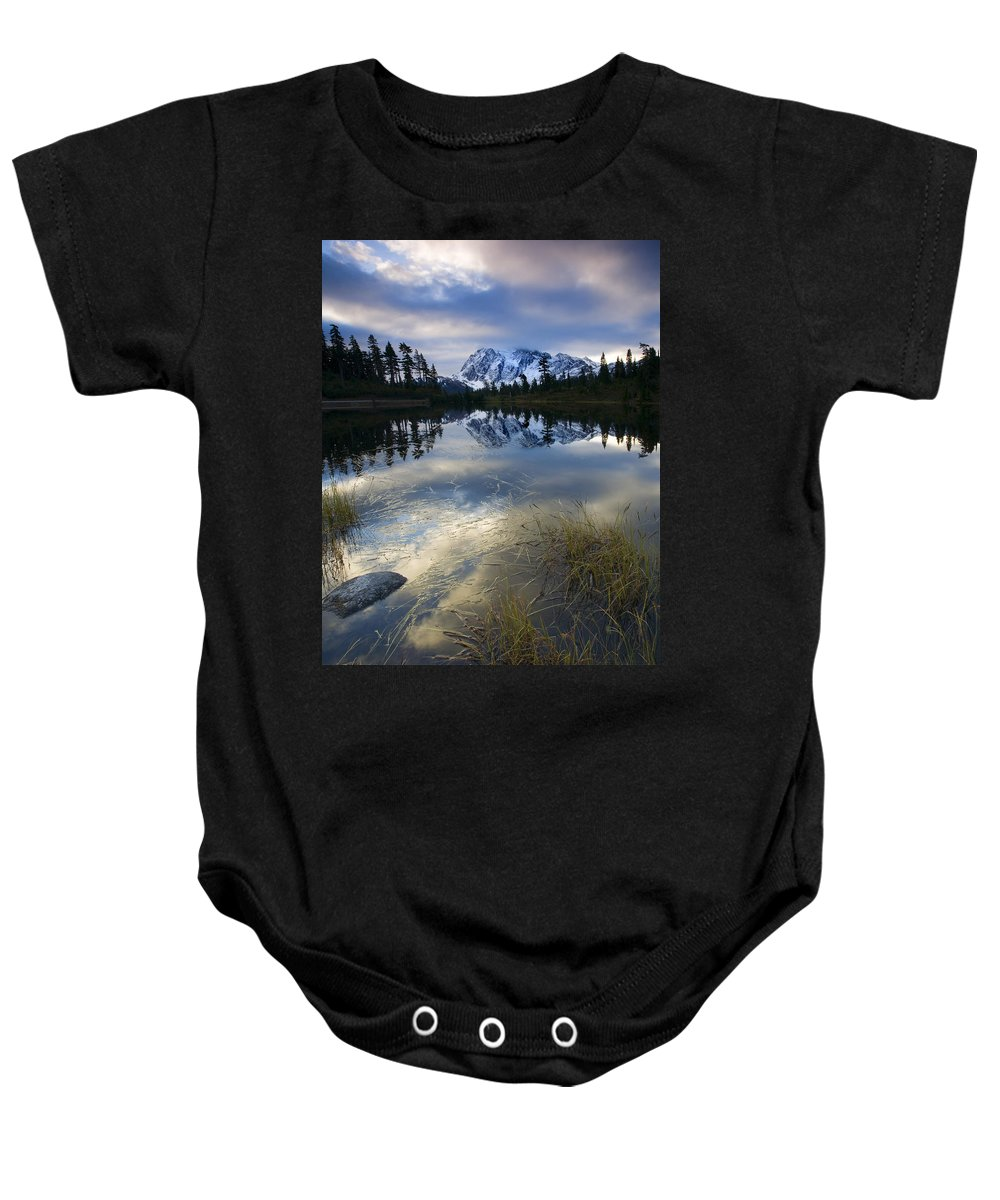 Mt. Shuksan Baby Onesie featuring the photograph Winter Approaches by Mike Dawson