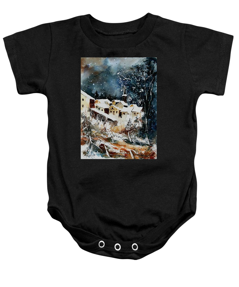 Winter Baby Onesie featuring the painting Winter In Vivy by Pol Ledent