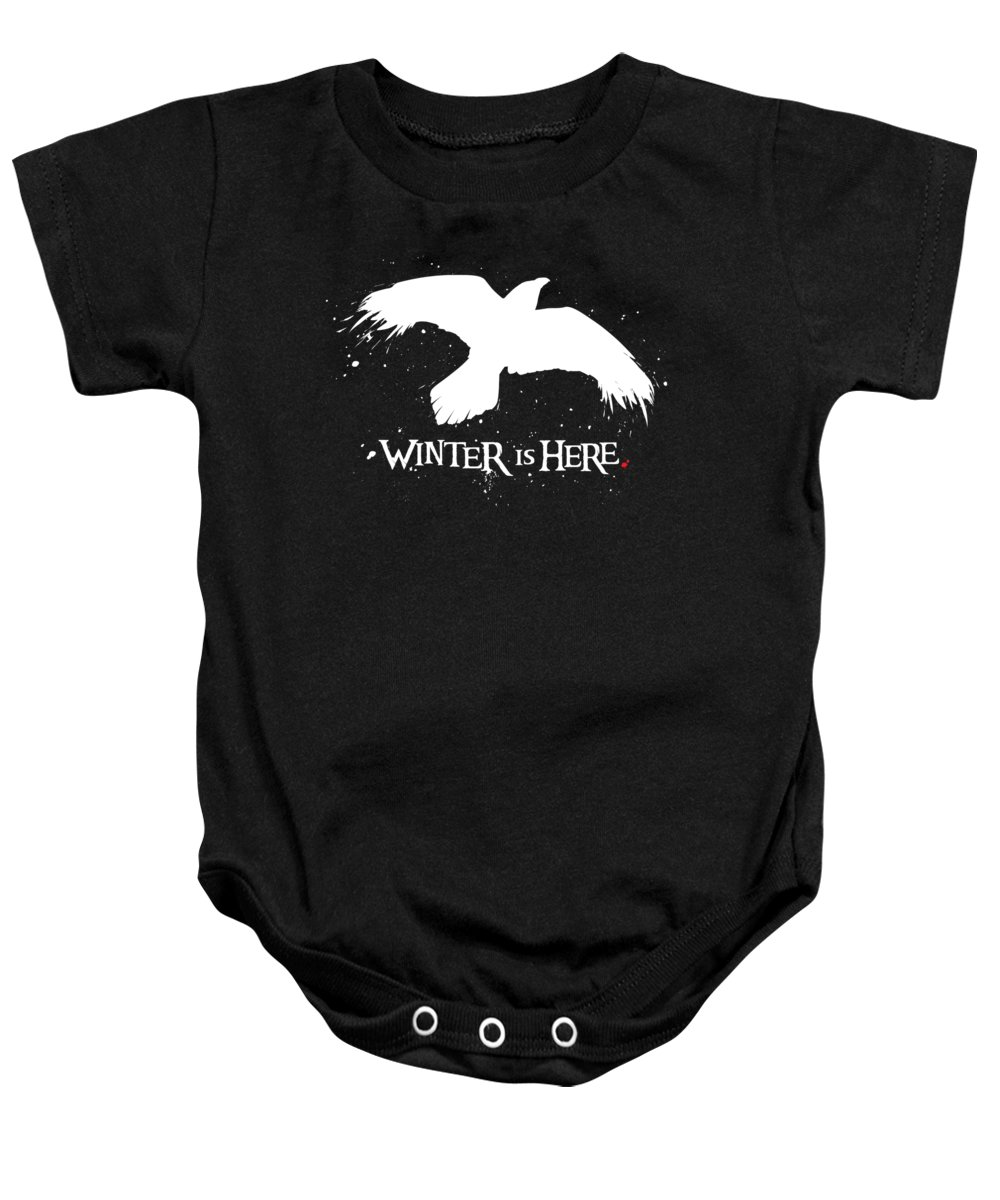 Game Of Thrones Baby Onesie featuring the digital art Winter Is Here - Large Raven by Edward Draganski