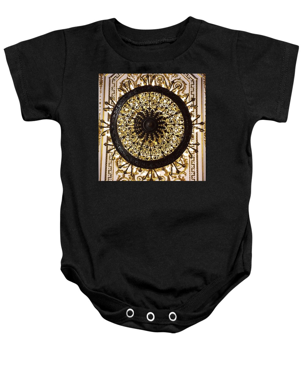 Chandelier Baby Onesie featuring the photograph Winter Palace 1 by Annette Hadley