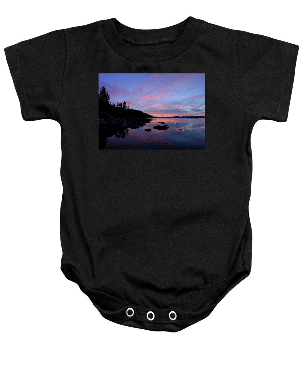 Sunset Baby Onesie featuring the photograph Winter Pastel Sundown Serenity by Sean Sarsfield