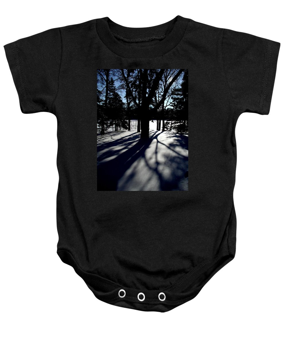 Landscape Baby Onesie featuring the photograph Winter Shadows 2 by Tom Reynen
