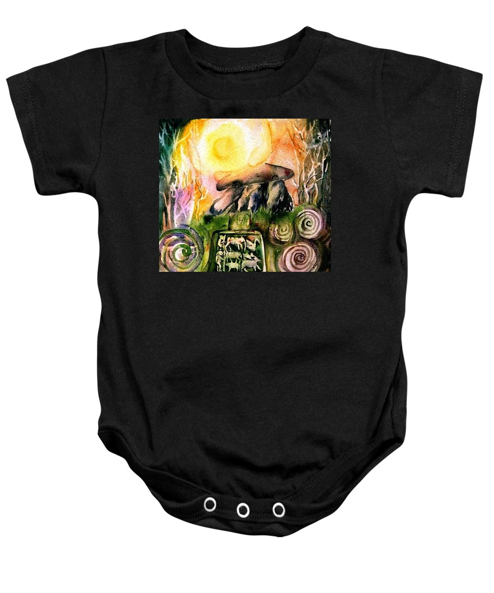 Dolmen Baby Onesie featuring the painting Winter Solstice , Ancient Stones Of Ireland  by Trudi Doyle