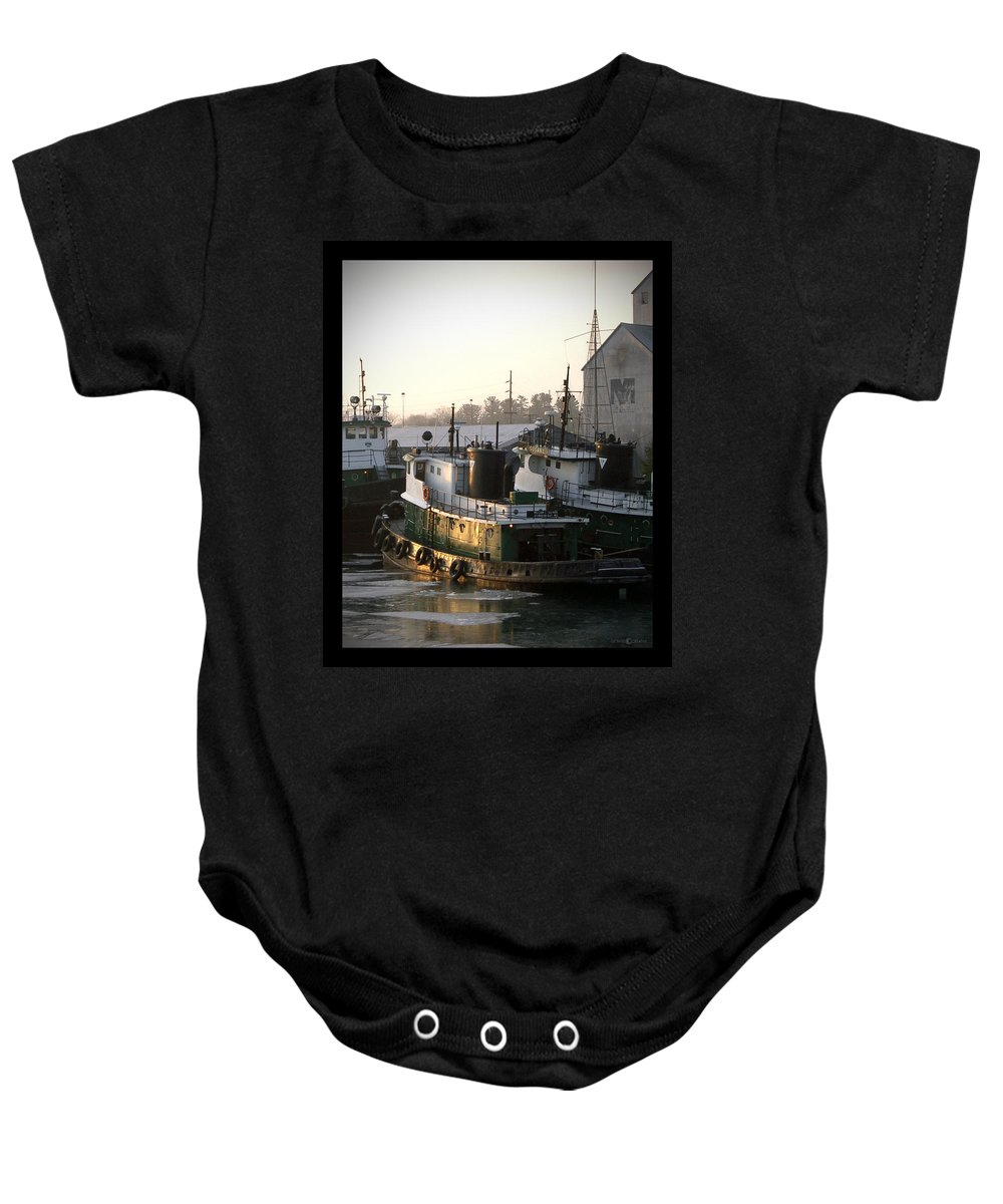 Tugs Baby Onesie featuring the photograph Winter Tugs by Tim Nyberg