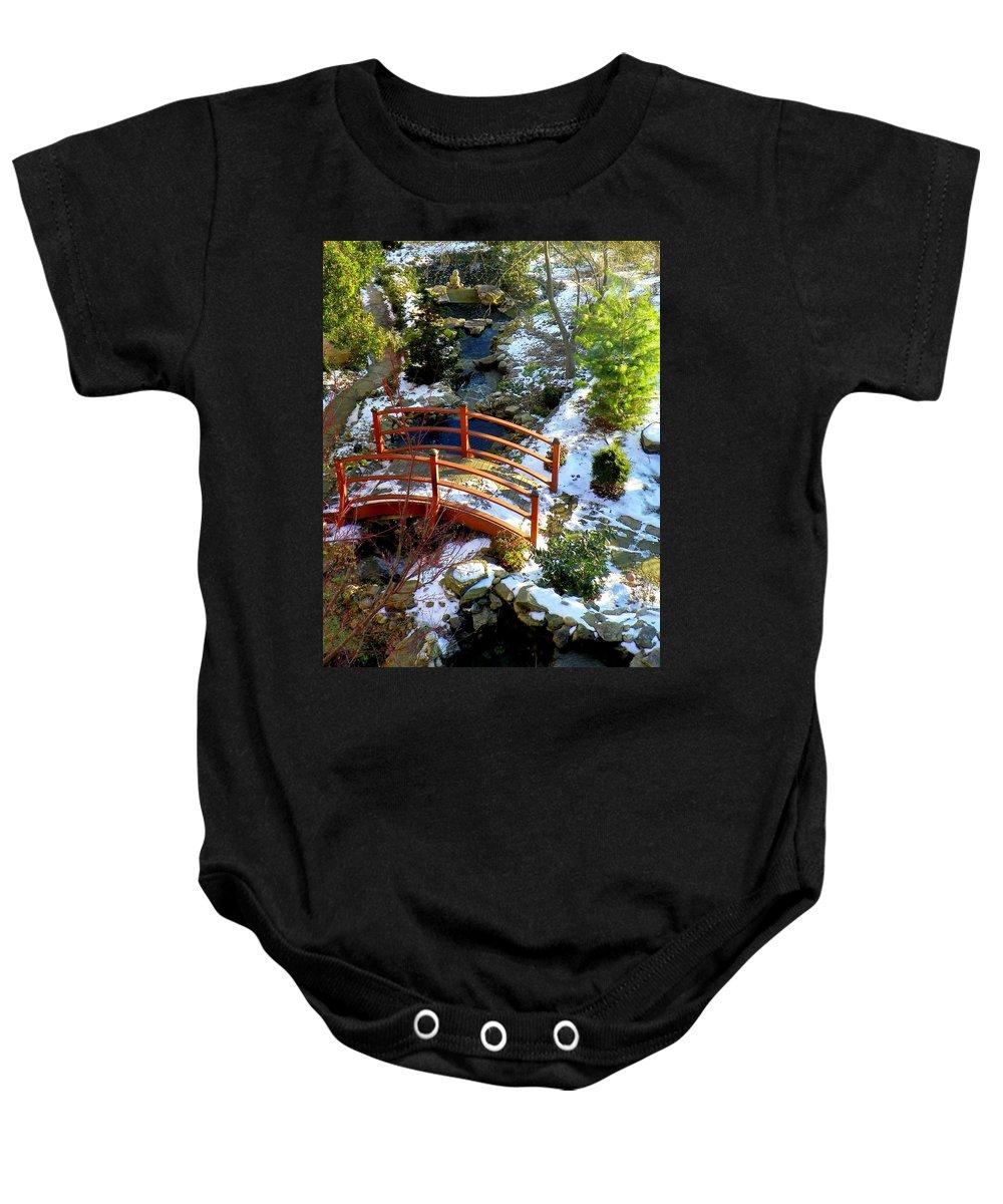 Bridge Baby Onesie featuring the photograph Winter's Goodbye by Karen Wiles