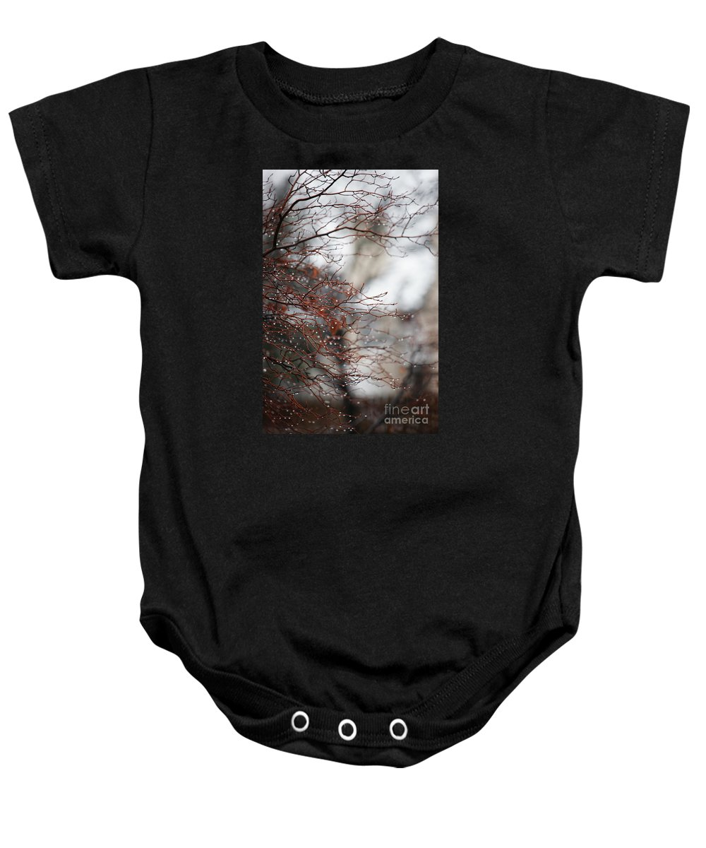 Trees Baby Onesie featuring the photograph Wintry Mix by Linda Shafer
