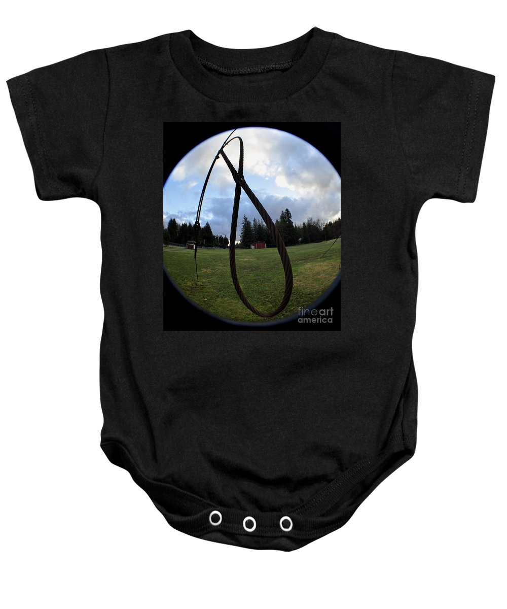 Clay Baby Onesie featuring the photograph Wire Rope Loggers Noose by Clayton Bruster