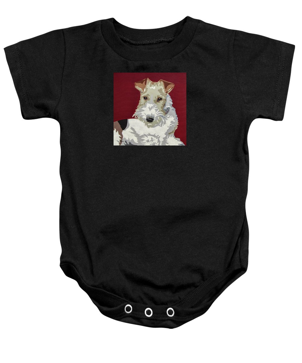 Wire Fox Terrier Baby Onesie featuring the painting Wirehaired Fox Terrier by Slade Roberts