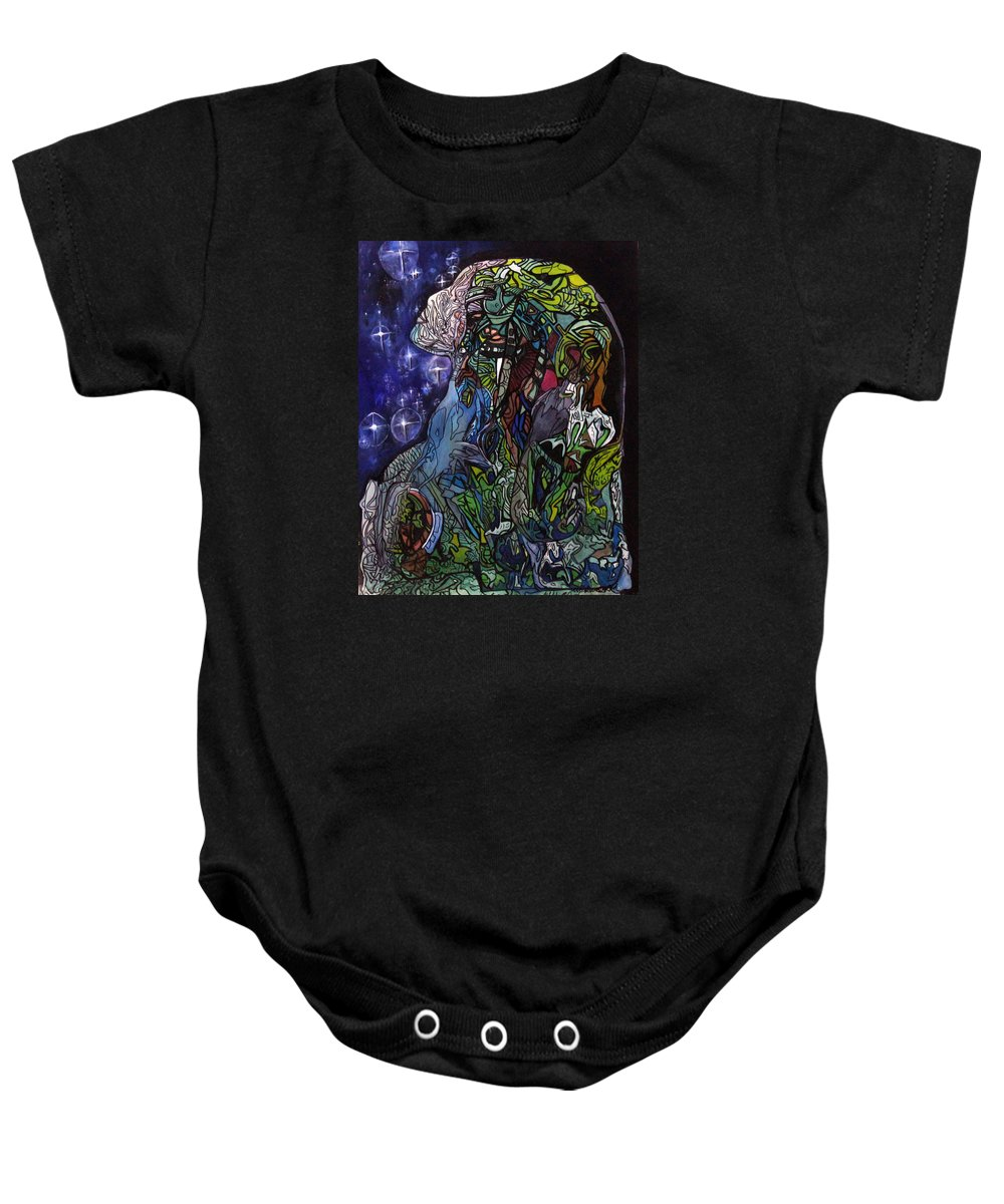 Hallamshollow Baby Onesie featuring the painting Wisdom by Maxine Miller