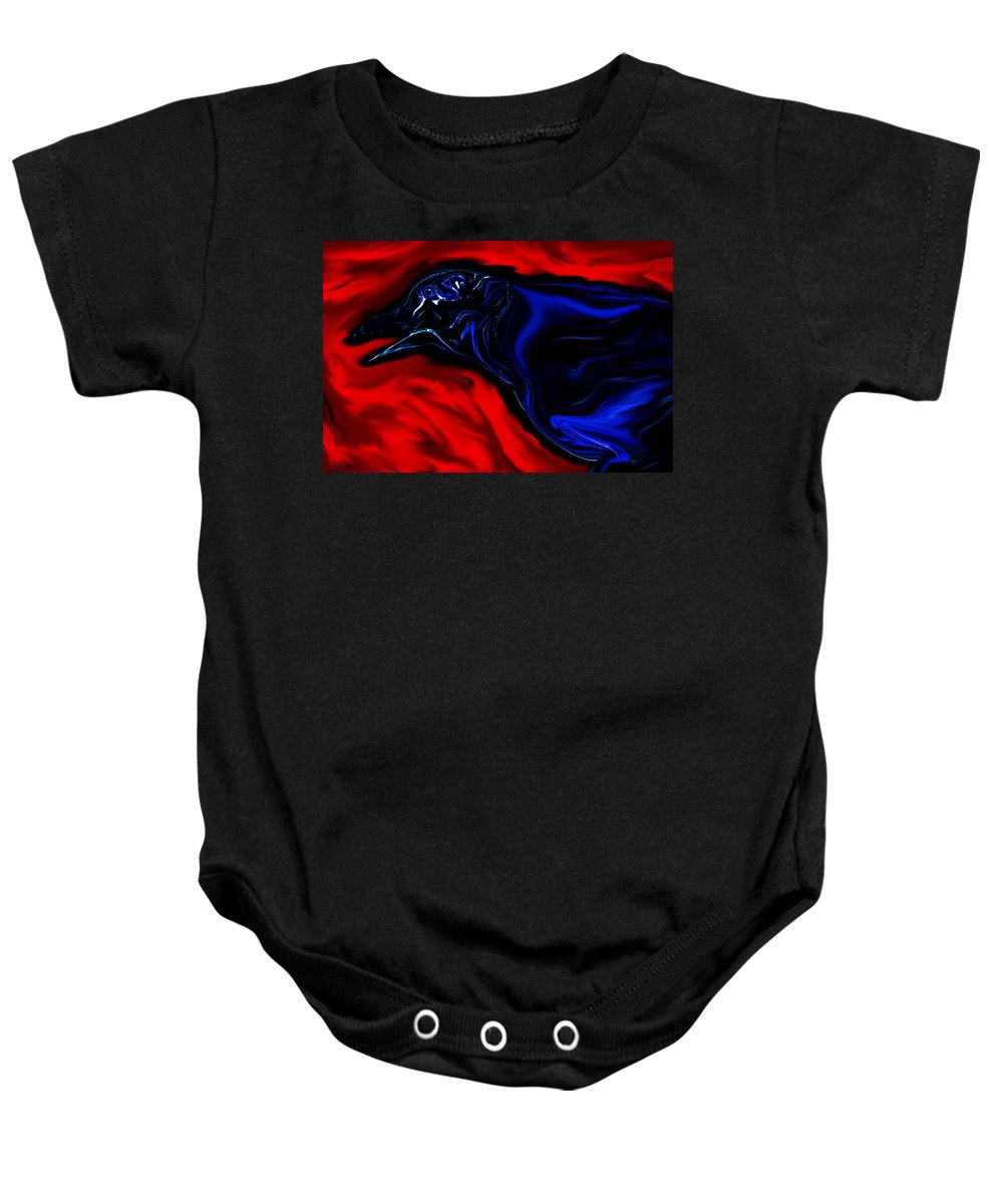 Crow Baby Onesie featuring the digital art Wise Old Crow In Strange Light. by Abstract Angel Artist Stephen K