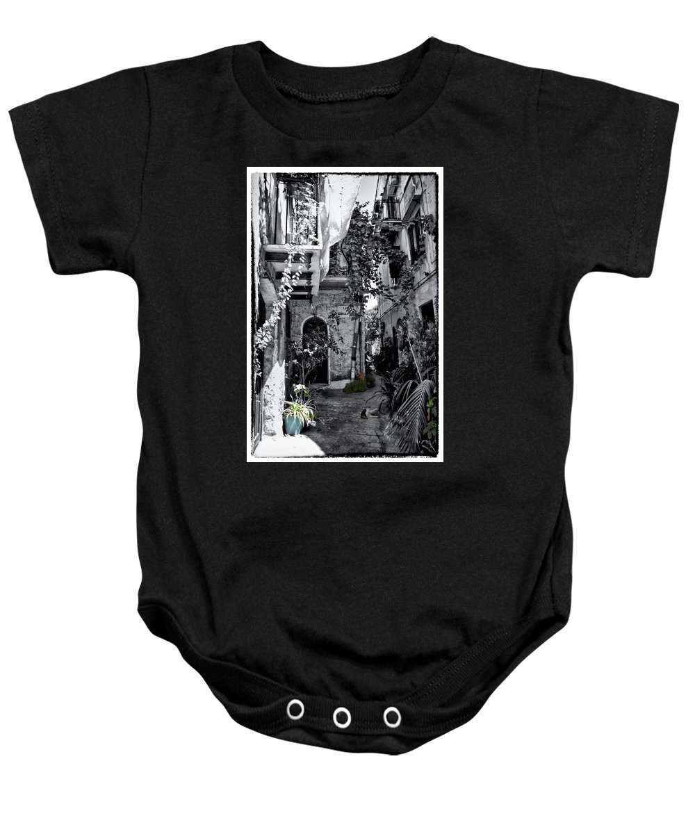 Cat Baby Onesie featuring the photograph With One Cat In The Yard by Madeline Ellis