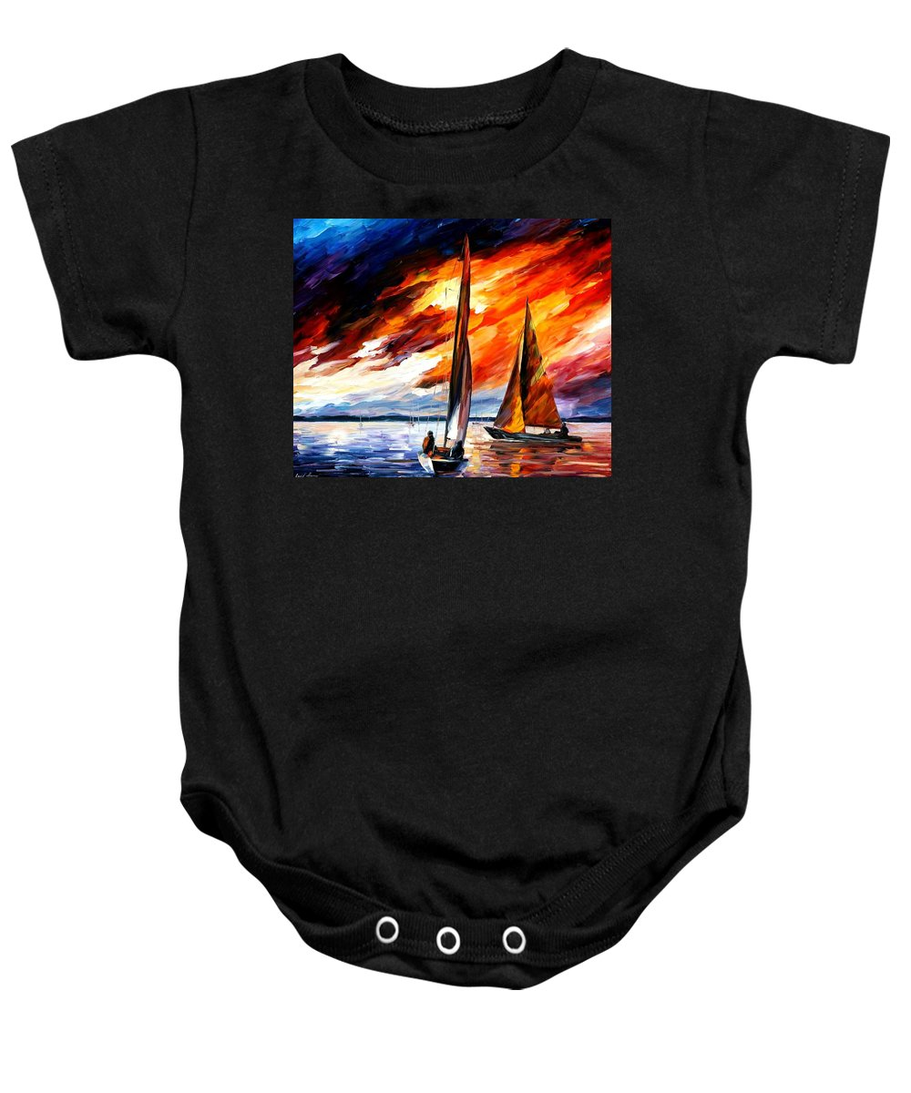 Afremov Baby Onesie featuring the painting With The Wind by Leonid Afremov