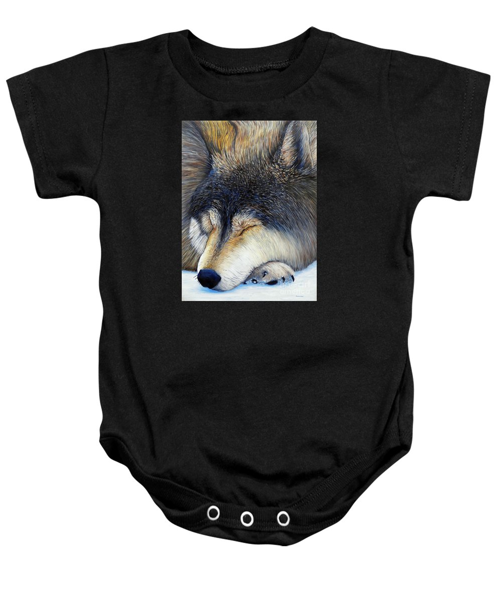 Wolf Baby Onesie featuring the painting Wolf Dreams by Brian Commerford
