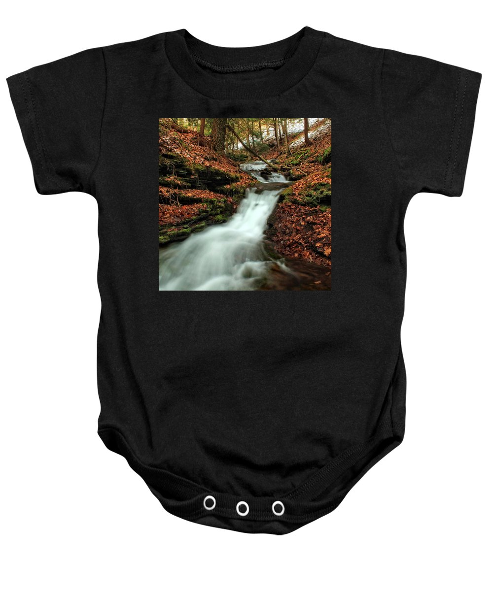 Columbia Gorge Baby Onesie featuring the photograph Wolf Run 4 by Ingrid Smith-Johnsen
