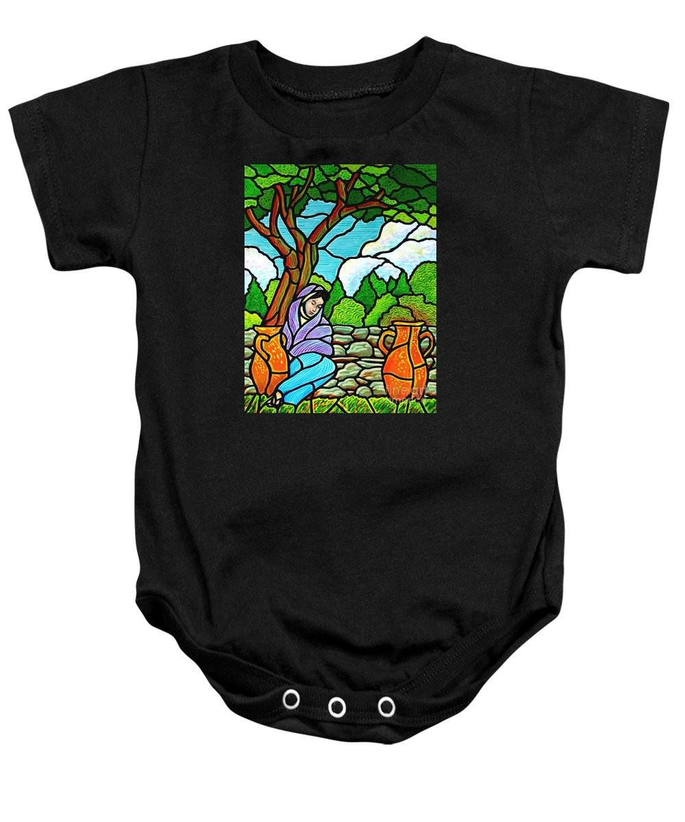 Women Baby Onesie featuring the painting Woman At The Well by Jim Harris