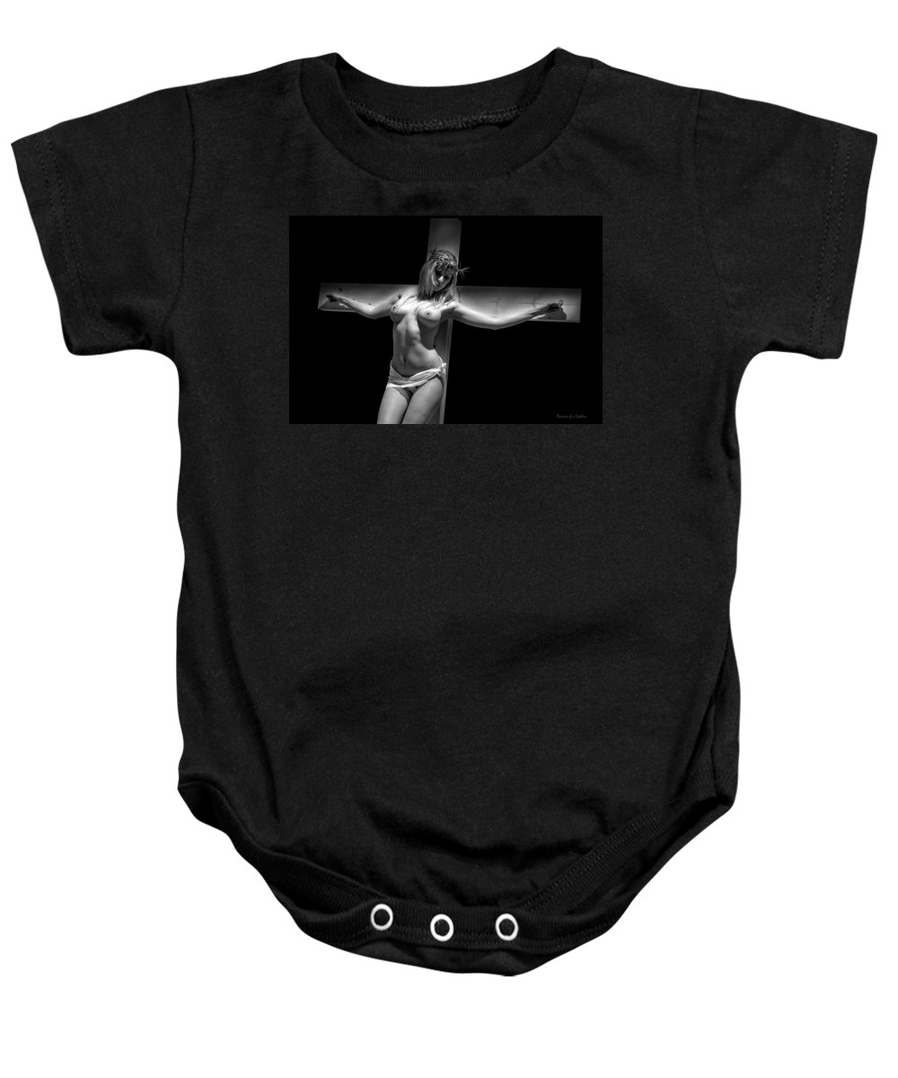 Glamour Baby Onesie featuring the photograph Woman On Cross by Ramon Martinez