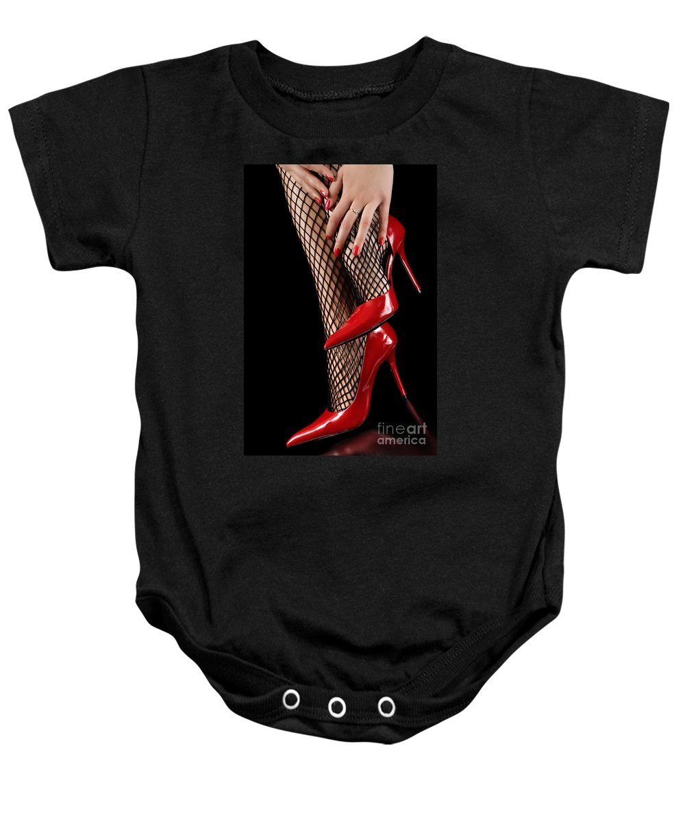 Shoes Baby Onesie featuring the photograph Woman Wearing Red Sexy High Heels by Oleksiy Maksymenko