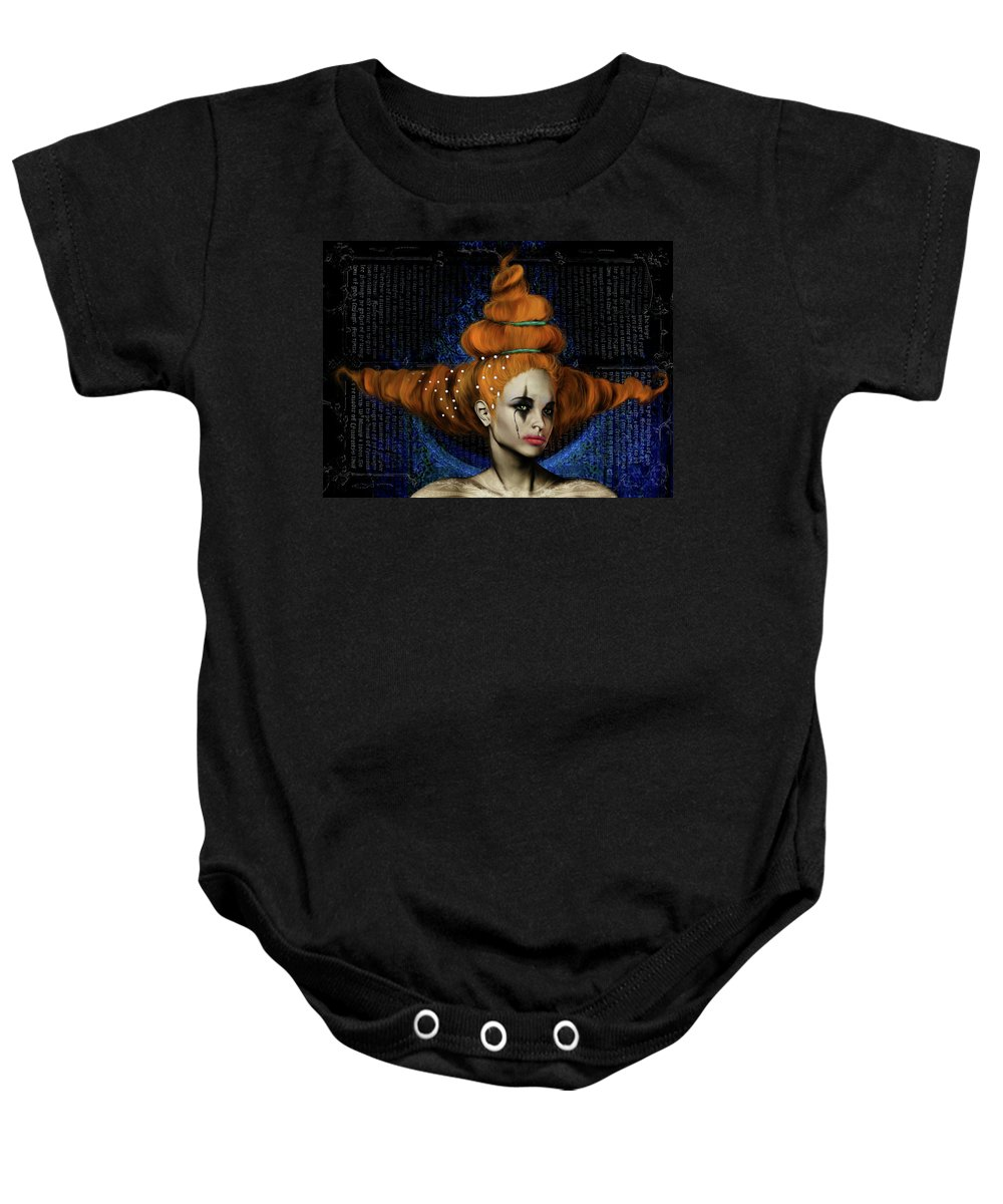 Woman Hair Gothic Dark Faces Eyes Baby Onesie featuring the digital art Woman With Big Hair by Veronica Jackson