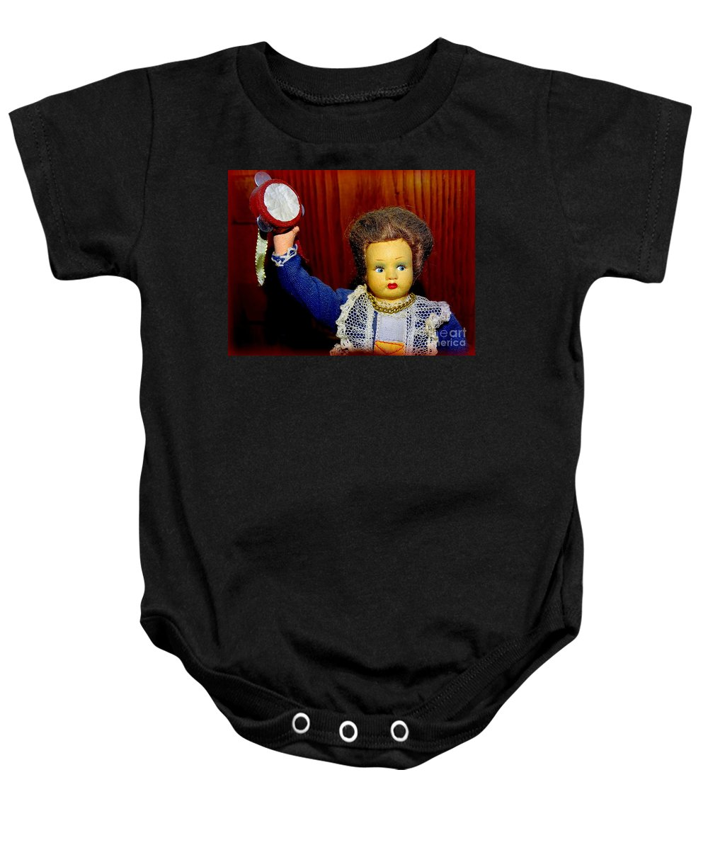 Doll Baby Onesie featuring the photograph Woman With Tambourine by Ed Weidman