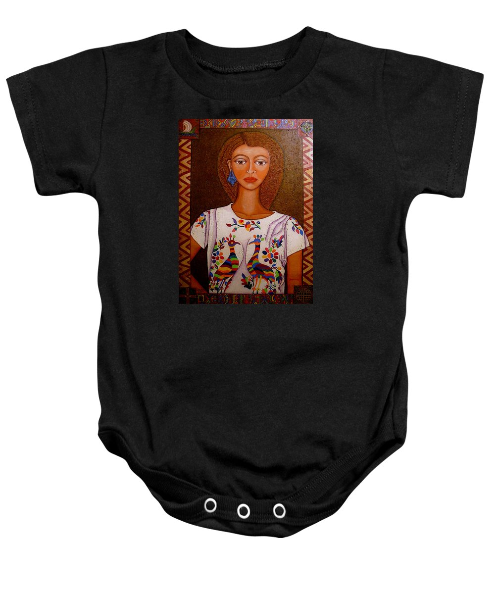 Woman Baby Onesie featuring the painting Women Below And Beyond The Sea by Madalena Lobao-Tello