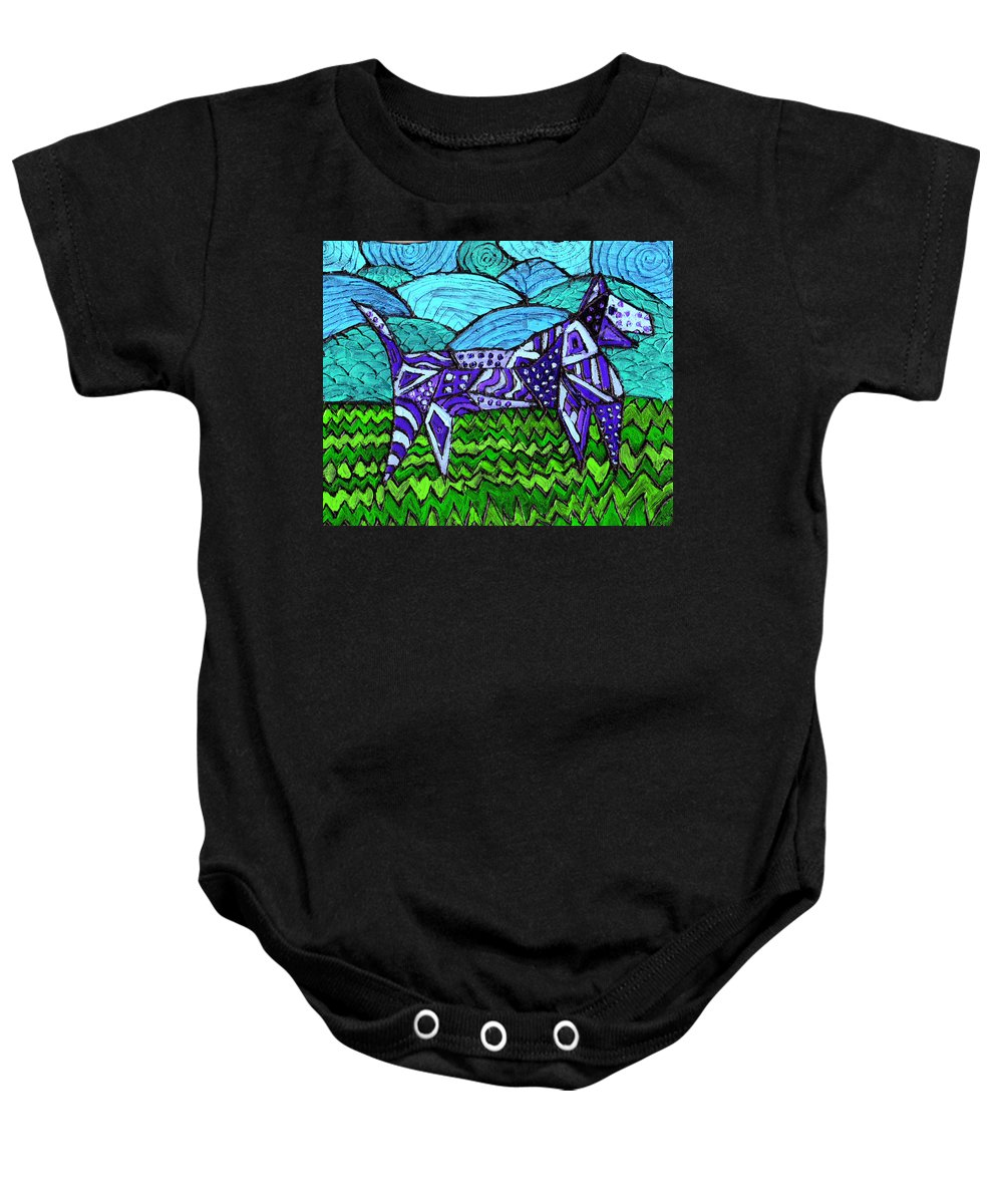 Dog Baby Onesie featuring the painting Wonder Dog by Wayne Potrafka