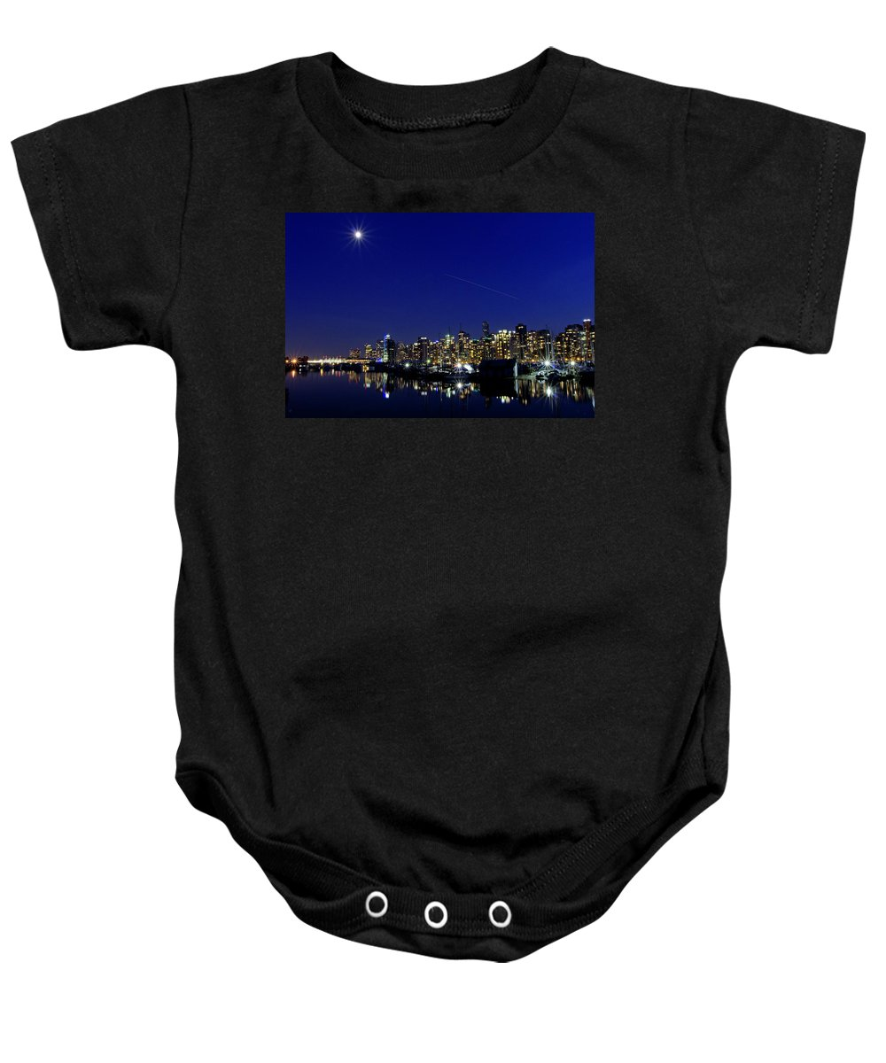 Architecture Baby Onesie featuring the photograph Wonderful Autumn Night In Port Vancouver by Andrew Kim