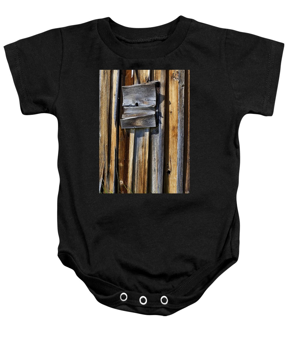 Wood Wall Baby Onesie featuring the photograph Wood On Wood by Kelley King