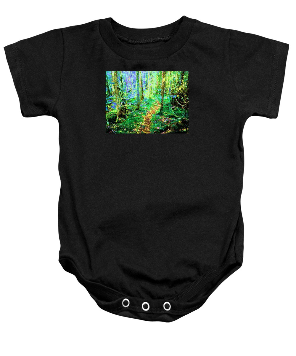 Nature Baby Onesie featuring the digital art Wooded Trail by Dave Martsolf