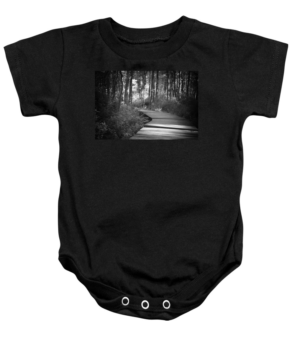 Black And White Baby Onesie featuring the photograph Wooded Walk by Scott Wyatt