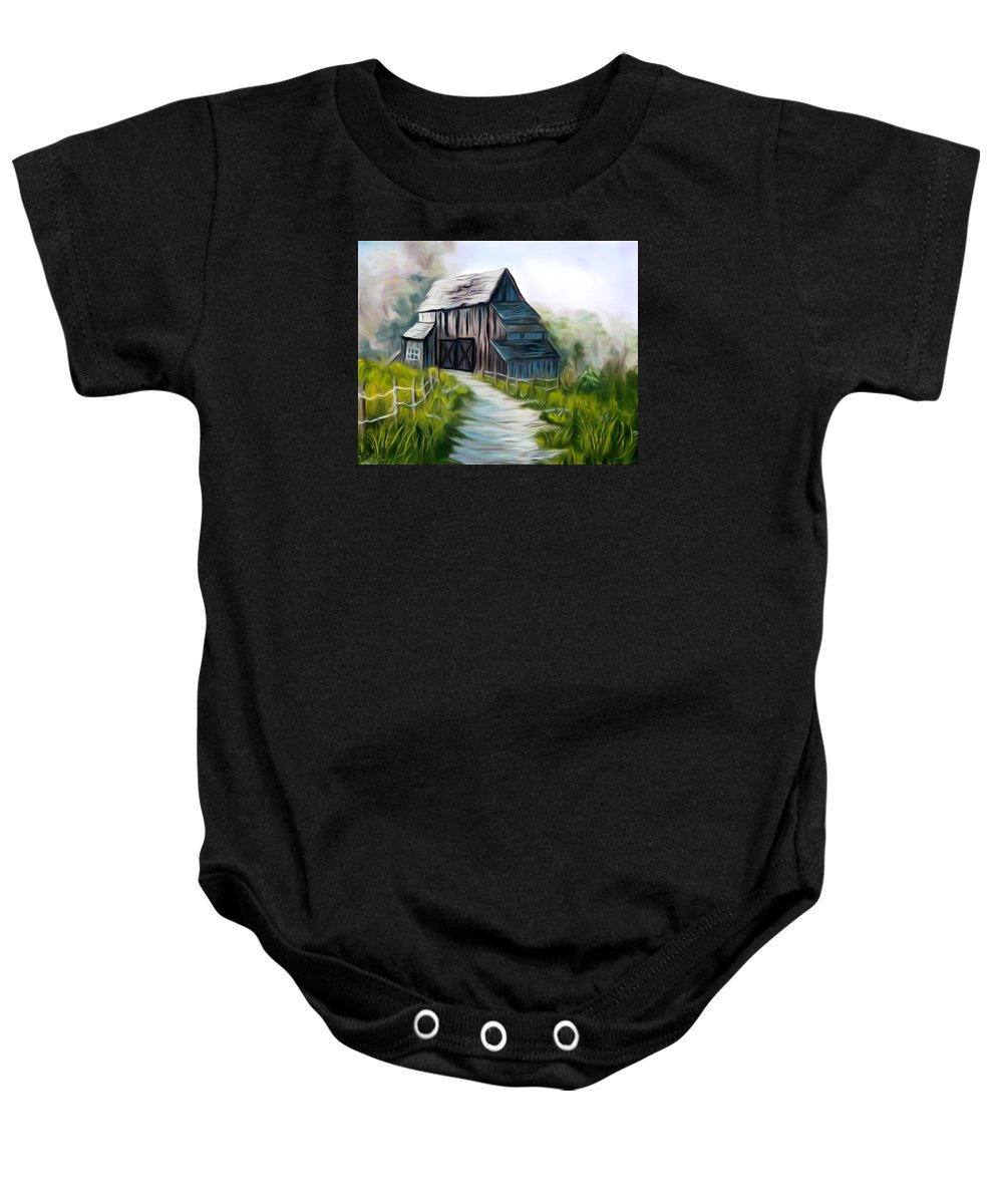 Old Barn Baby Onesie featuring the painting Wooden Barn Dreamy Mirage by Claude Beaulac