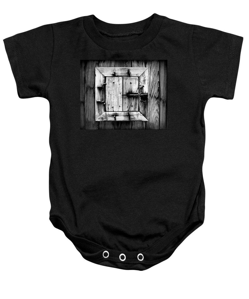 Wood Baby Onesie featuring the photograph Wooden Window II by Perry Webster