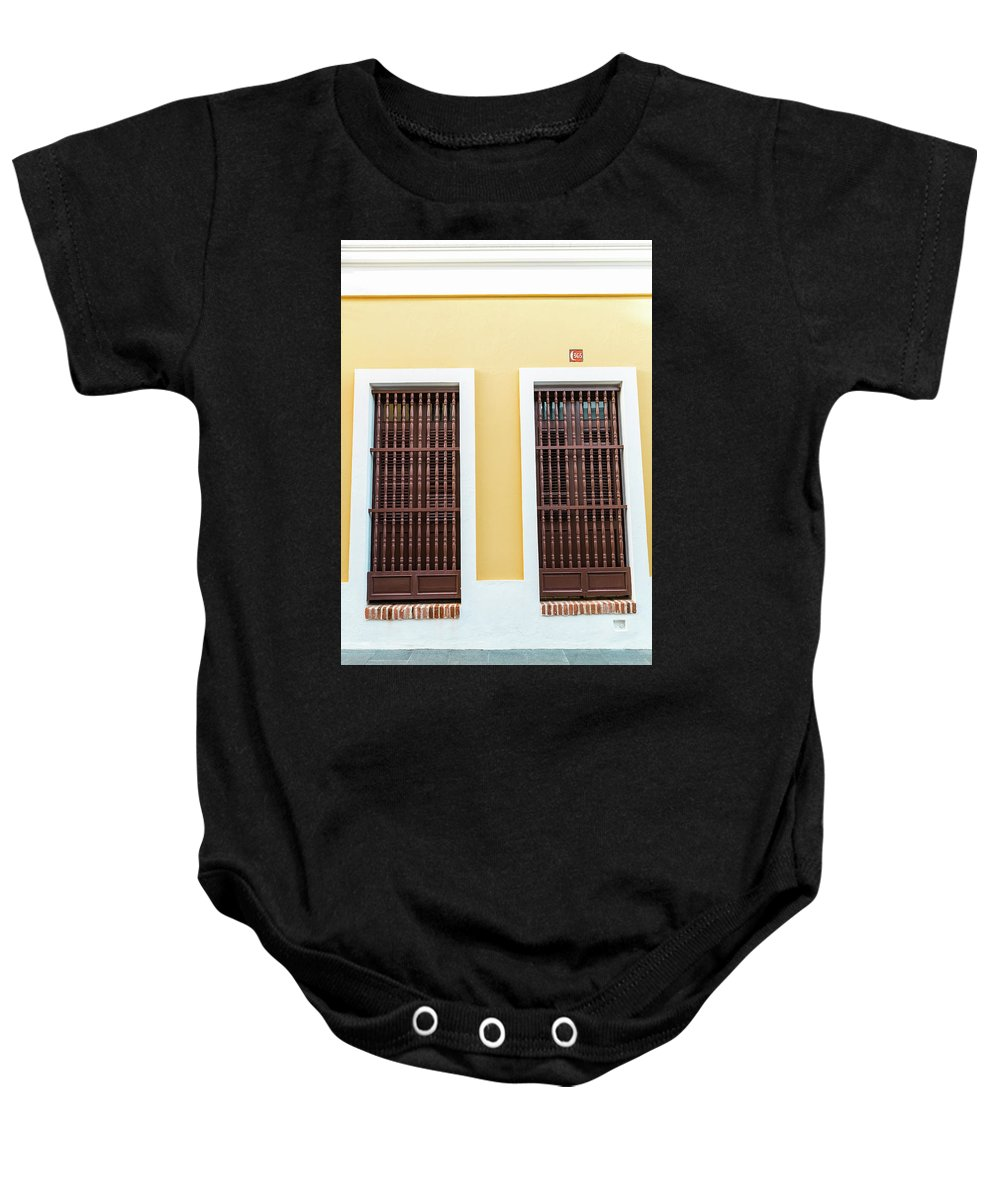 Wood Baby Onesie featuring the photograph Wooden Windows In Old San Juan, Puerto Rico by Jasmin Burton