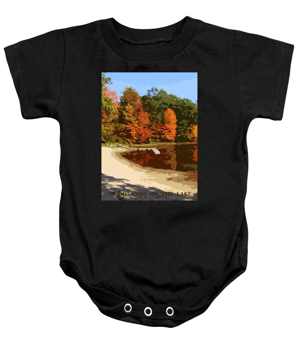 Autumn Baby Onesie featuring the photograph Woodlands On The Lake by Michelle Calkins