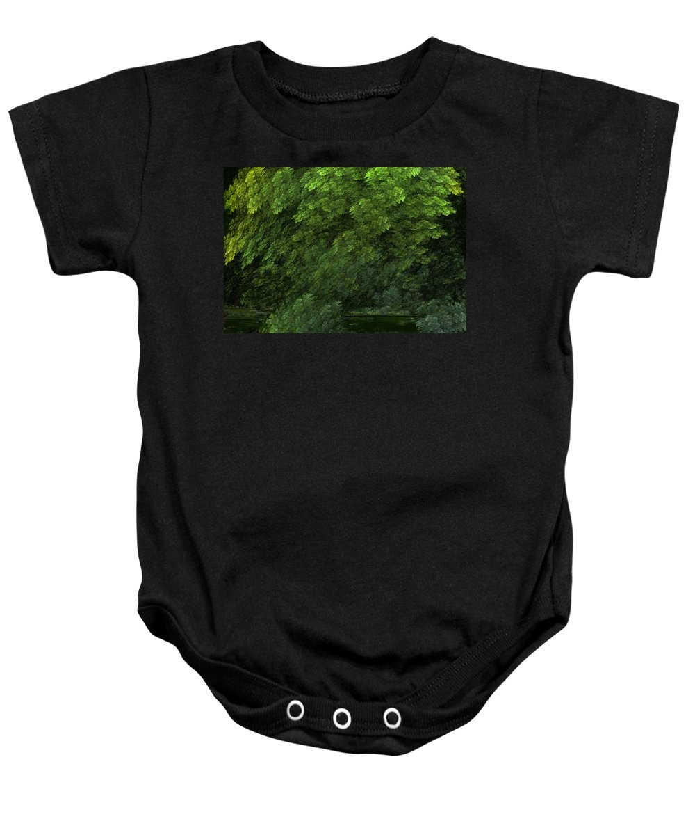 Digital Painting Baby Onesie featuring the digital art Woods And Stream by David Lane
