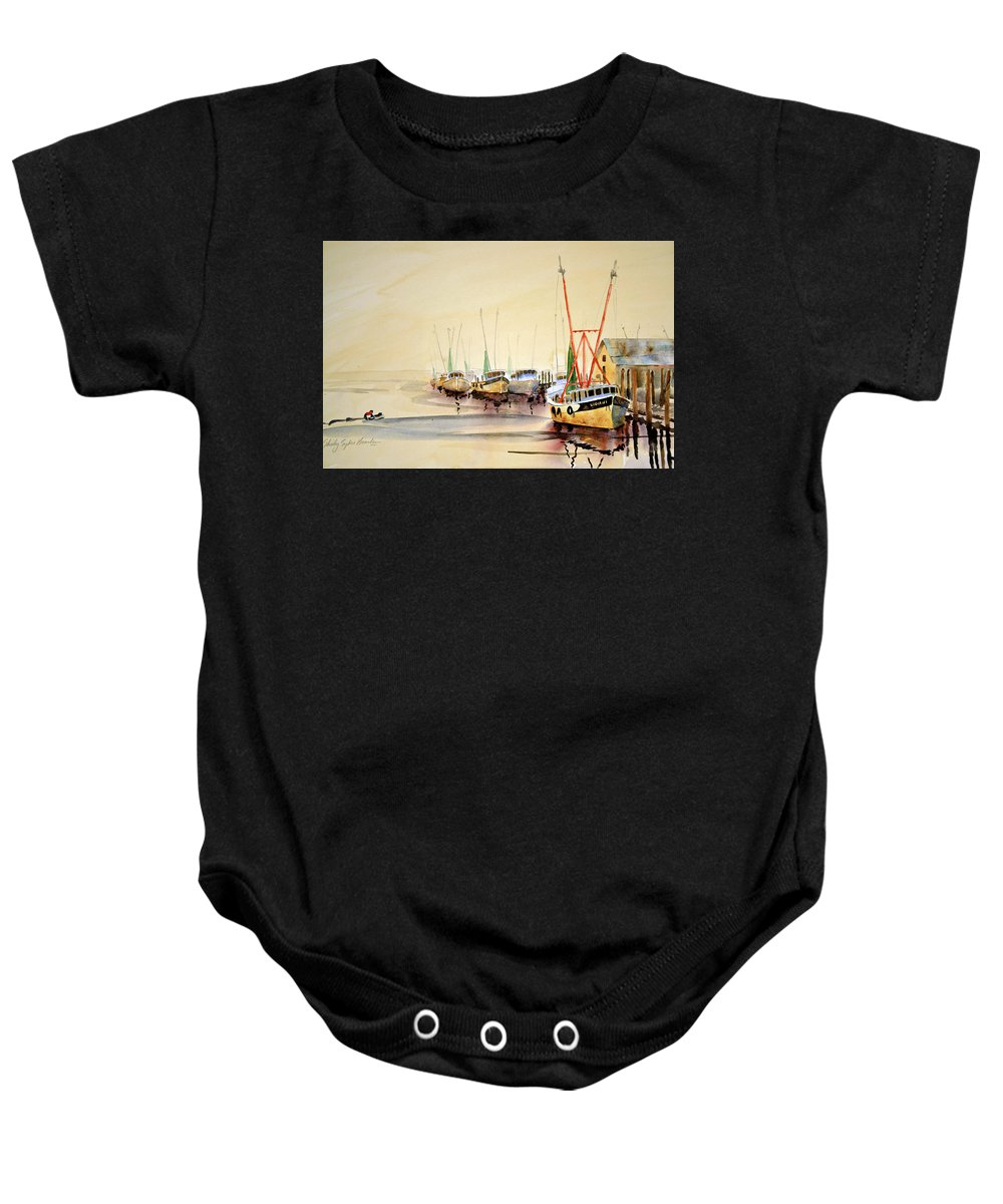 Working Boats Baby Onesie featuring the painting Working Boats by Shirley Sykes Bracken