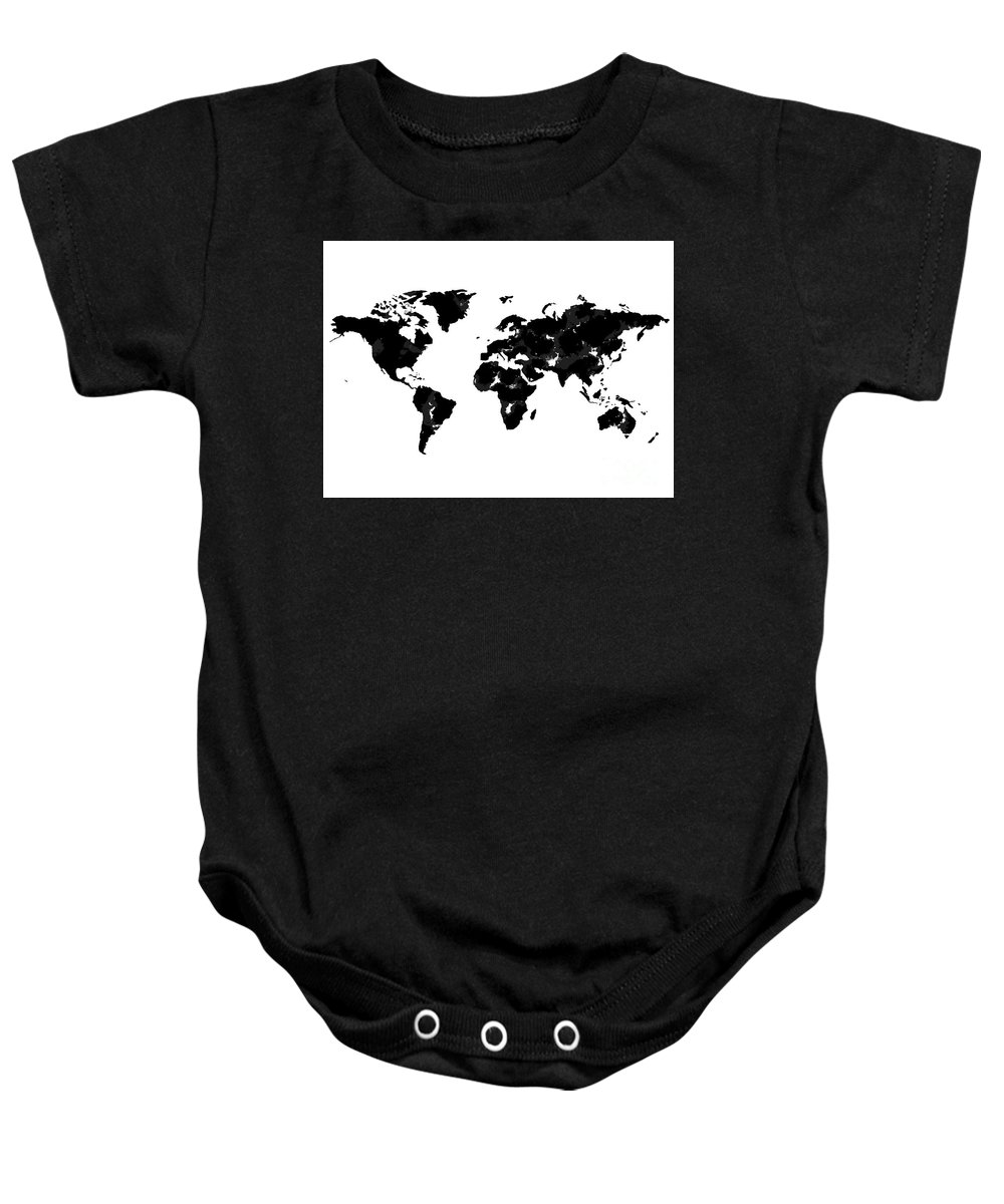 Watercolor Baby Onesie featuring the painting World Map In Black And White by Tori Rodriguez