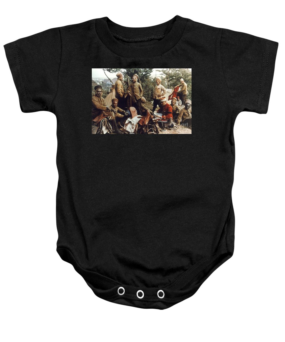 1915 Baby Onesie featuring the photograph World War I: French Troops by Granger