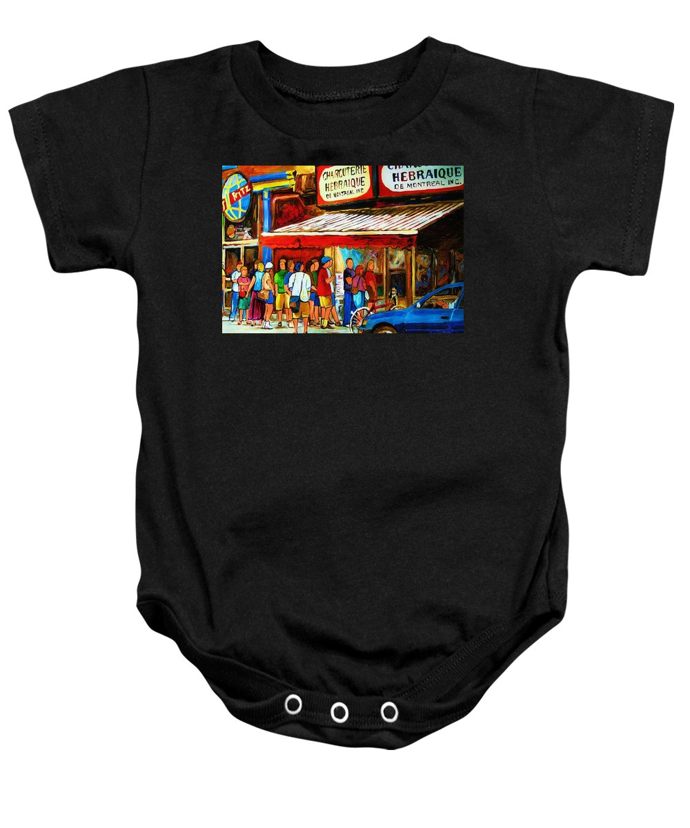 Montreal Streetscenes Baby Onesie featuring the painting Worth The Wait by Carole Spandau