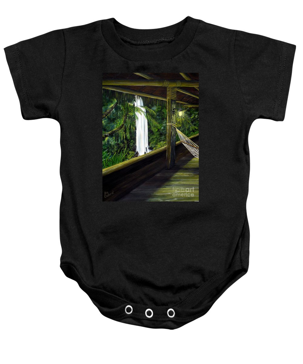 Waterfall Baby Onesie featuring the painting Wrapped In Paradise by Kris Crollard