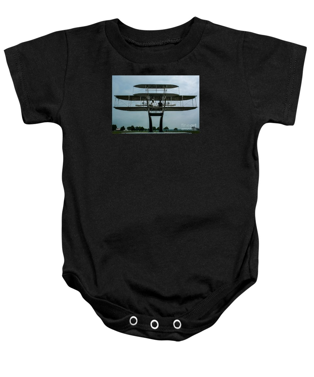 Wright Flyer Memorial Baby Onesie featuring the photograph Wright Flyer Memorial Dayton by Tommy Anderson