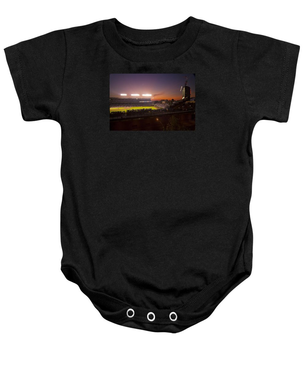 Cubs Baby Onesie featuring the photograph Wrigley Field At Dusk by Sven Brogren