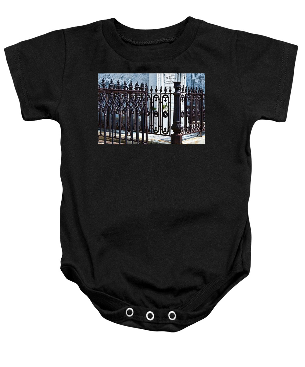 Iron Baby Onesie featuring the photograph Wrought Iron Cemetery Fence by Kathleen K Parker