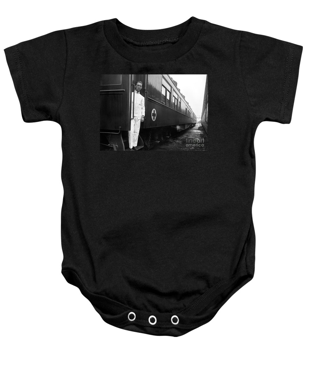 1917 Baby Onesie featuring the photograph Ww I: Red Cross Railroad by Granger