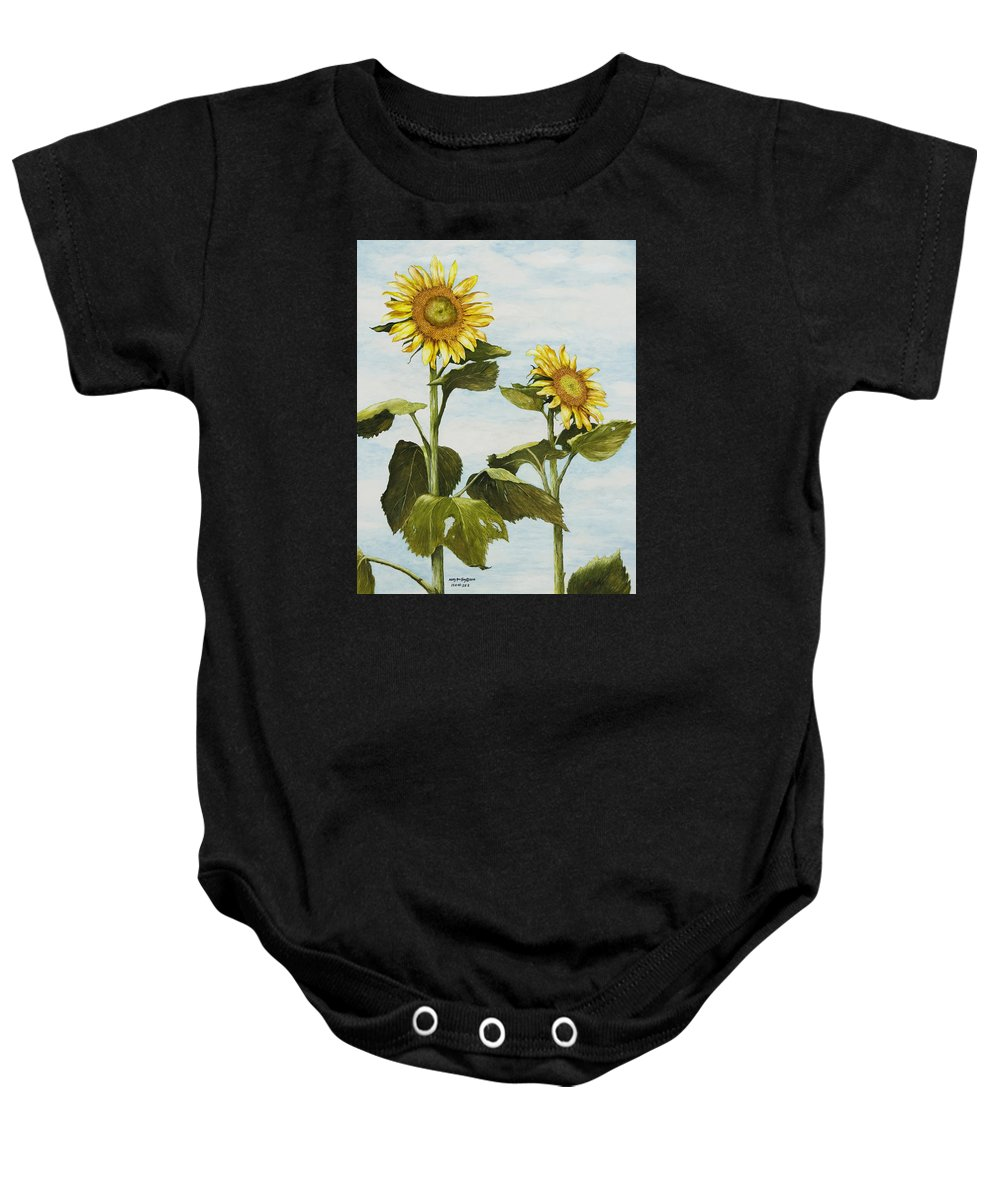 Yellow Sunflower Watercolor Painting Baby Onesie featuring the painting Yana's Sunflowers by Mary Ann King