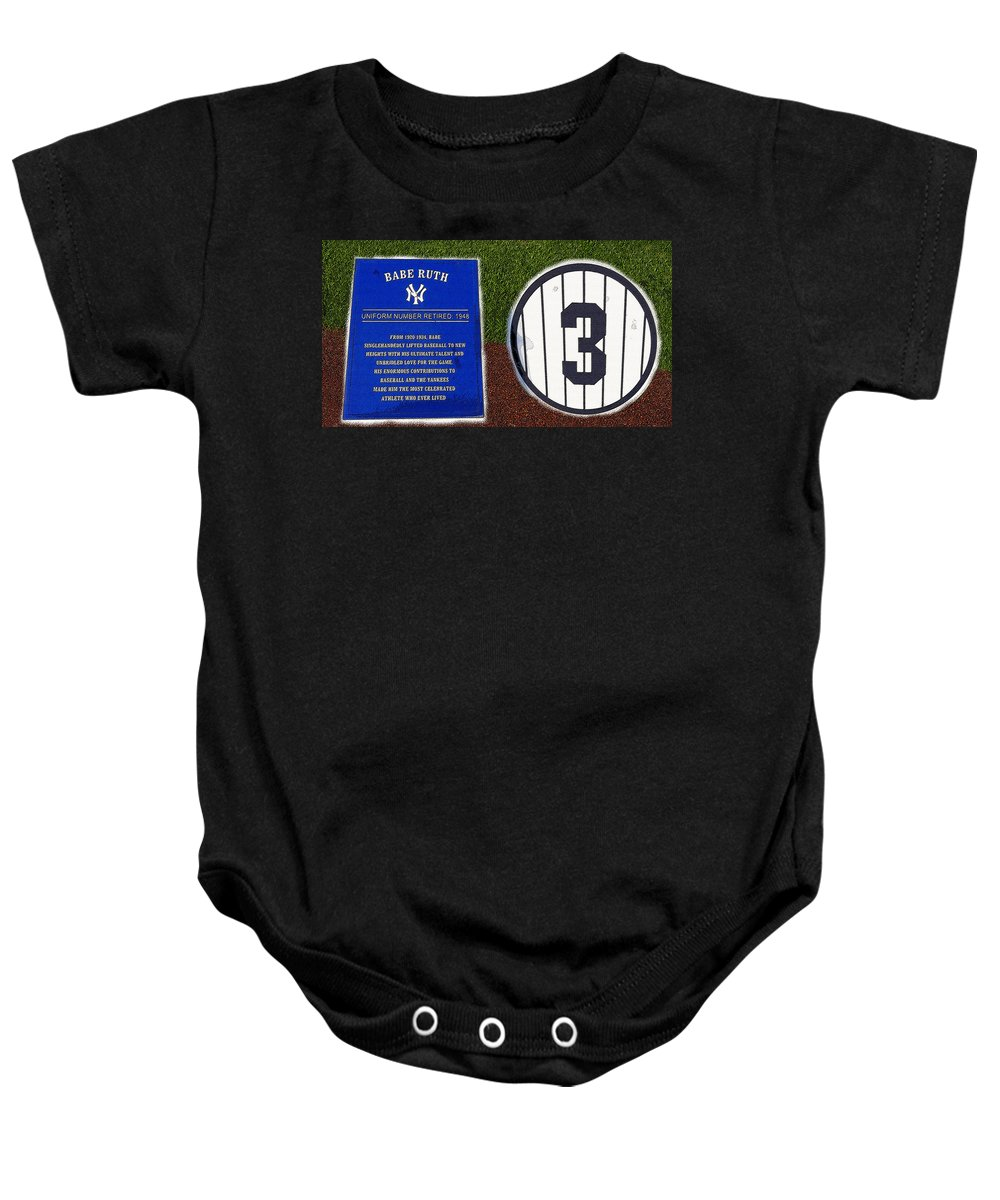 Art Baby Onesie featuring the painting Yankee Legends Number 3 by David Lee Thompson